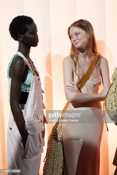 Models are seen backstage ahead of the Alberta Ferretti show during Milan Fashion Week Spring/Summer 2019 on September 19, 2018 in Milan, Italy.