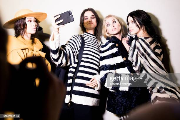 Models are seen backstage ahead of the Alberta Ferretti show during Milan Fashion Week Fall/Winter 2017/18 on February 22 2017 in Milan Italy