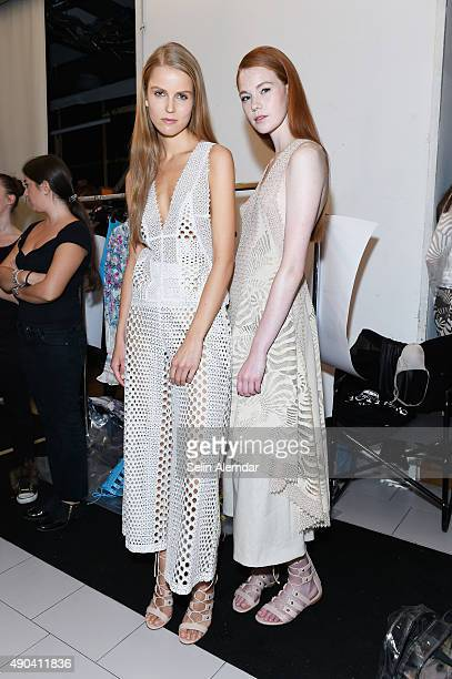 Models are seen backstage ahead of the Angelo Marani show during Milan Fashion Week Spring/Summer 2016 on September 28 2015 in Milan Italy