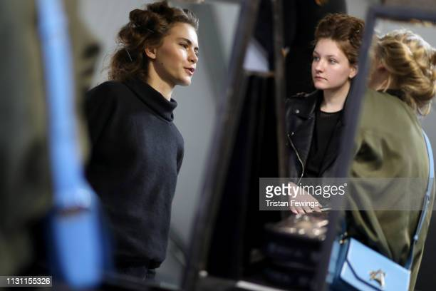 Models are seen backstage ahead of the Anteprima show at Milan Fashion Week Autumn/Winter 2019/20 on February 21 2019 in Milan Italy