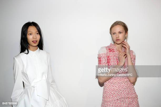 Models are seen backstage ahead of the Antonio Berardi show during London Fashion Week September 2017 on September 18 2017 in London England