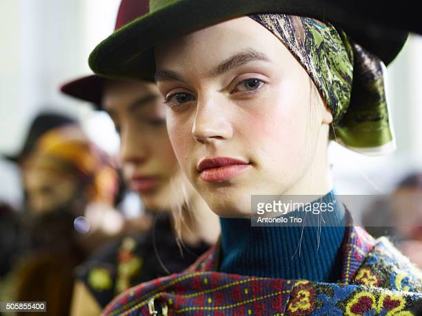 Models are seen backstage ahead of the Antonio Marras show during Milan Men's Fashion Week Fall/Winter 2016/17 on January 18 2016 in Milan Italy