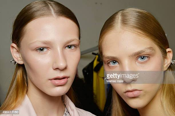 Models are seen backstage ahead of the Arthur Arbesser show during Milan Fashion Week Spring/Summer 2016 on September 28 2015 in Milan Italy