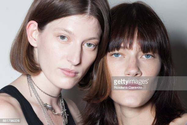 Models are seen backstage ahead of the Arthur Arbesser show during Milan Fashion Week Spring/Summer 2018 on September 21 2017 in Milan Italy