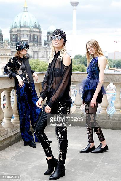 Models are seen backstage ahead of the Augustin Teboul defilee during the Der Berliner Mode Salon Spring/Summer 2017 at Kronprinzenpalais on June 30...