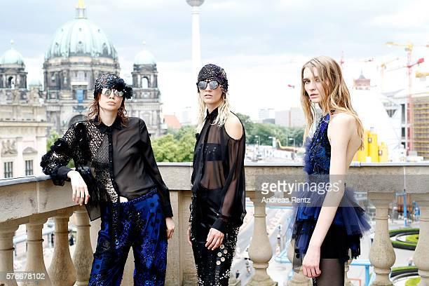 Models are seen backstage ahead of the Augustin Teboul defilee during the Der Berliner Mode Salon Spring/Summer 2017 at Kronprinzenpalais on June 30...