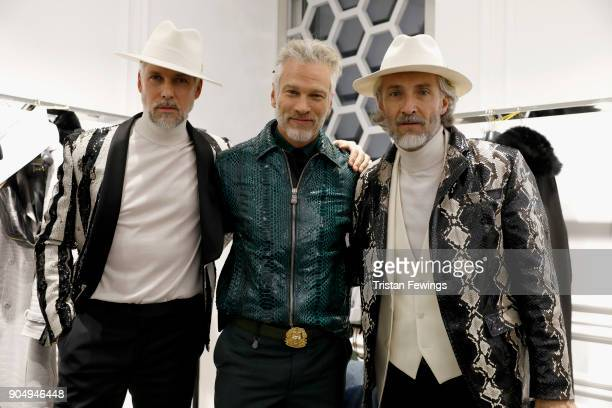 Models are seen backstage ahead of the Billionaire show during Men's Fashion Week Fall/Winter 2018/19 on January 14 2018 in Milan Italy