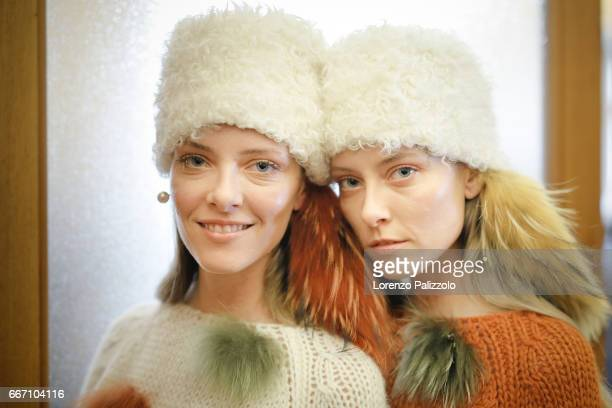 Models are seen backstage ahead of the Blugirl show during Milan Fashion Week Fall/Winter 2017/18 on February 24 2017 in Milan Italy
