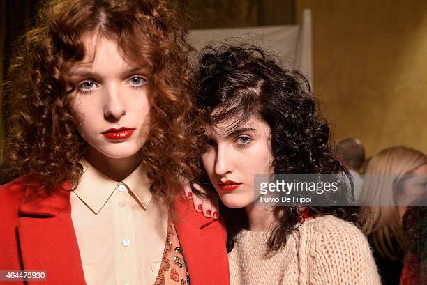 Models are seen backstage ahead of the Blugirl show during the Milan Fashion Week Autumn/Winter 2015 on February 26 2015 in Milan Italy