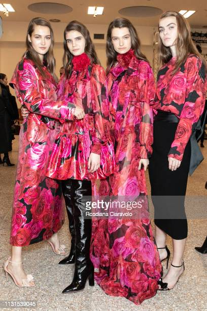 Models are seen backstage ahead of the Blumarine show at Milan Fashion Week Autumn/Winter 2019/20 on February 22 2019 in Milan Italy
