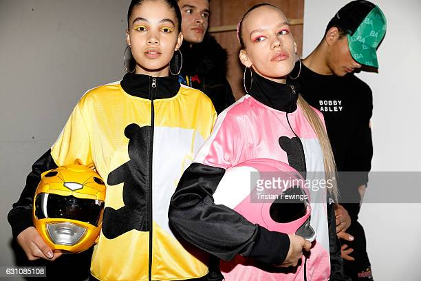 Models are seen backstage ahead of the Bobby Abley show during London Fashion Week Men's January 2017 collections at BFC Show Space on January 6 2017...