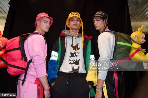 Models are seen backstage ahead of the Bobby Abley show during the London Fashion Week Men's June 2017 collections on June 12 2017 in London England
