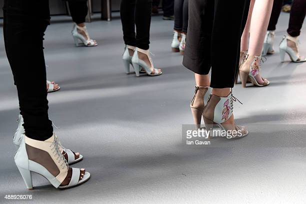 Models are seen backstage ahead of the Bora Aksu show during London Fashion Week Spring/Summer 2016 on September 18, 2015 in London, England.