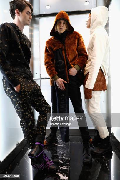 Models are seen backstage ahead of the Brand Who show during MercedesBenz Istanbul Fashion Week March 2017 at Grand Pera on March 22 2017 in Istanbul...