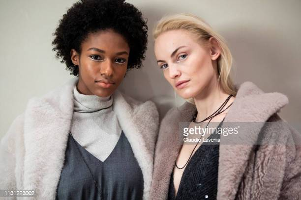 Models are seen backstage ahead of the Brunello Cucinelli presentation during Milan Fashion Week Autumn/Winter 2019/20 on February 20, 2019 in Milan,...