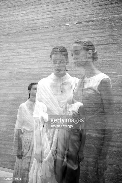 Models are seen backstage ahead of the Chika Kisada show during Milan Fashion Week Spring/Summer 2019 on September 24 2018 in Milan Italy