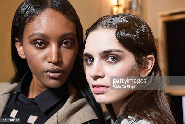Models are seen backstage ahead of the Cividini show during the Milan Fashion Week Autumn/Winter 2015 on February 28 2015 in Milan Italy