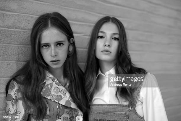 Models are seen backstage ahead of the Daizy Shely show during Milan Fashion Week Spring/Summer 2018on September 25 2017 in Milan Italy