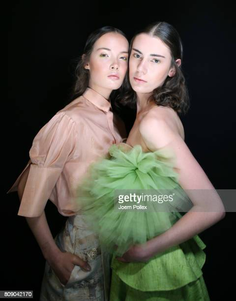 Models are seen backstage ahead of the Danny Reinke show during the Mercedes-Benz Fashion Week Berlin Spring/Summer 2018 at Kaufhaus Jandorf on July...