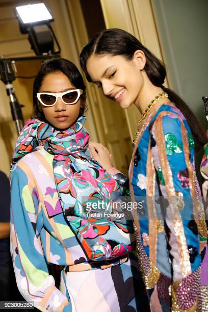 Models are seen backstage ahead of the Emilio Pucci show during Milan Fashion Week Fall/Winter 2018/19 on February 22 2018 in Milan Italy