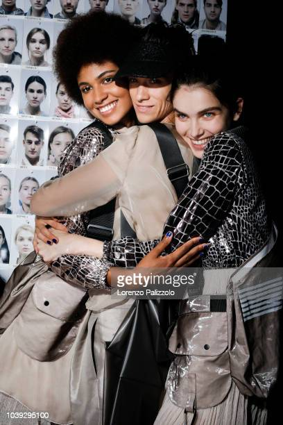 Models are seen backstage ahead of the Emporio Armani show during Milan Fashion Week Spring/Summer 2019 on September 20 2018 in Milan Italy