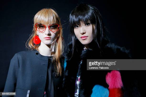 Models are seen backstage ahead of the Emporio Armani show during Milan Fashion Week Fall/Winter 2017/18 on February 24 2017 in Milan Italy