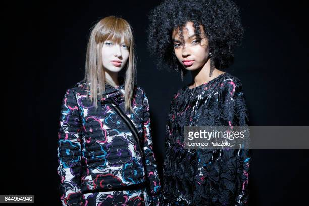 Models are seen backstage ahead of the Emporio Armani show during Milan Fashion Week Fall/Winter 2017/18 on February 24, 2017 in Milan, Italy.