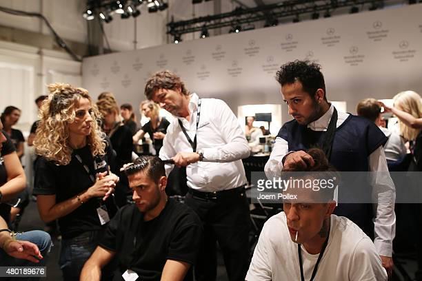 Models are seen backstage ahead of the Emre Erdemoglu show during the MercedesBenz Fashion Week Berlin Spring/Summer 2016 at Brandenburg Gate on July...