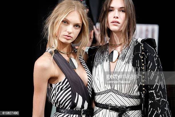 Models are seen backstage ahead of the Etro show during Milan Fashion Week Spring/Summer 2017 on September 23 2016 in Milan Italy