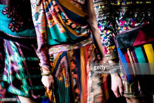 Models are seen backstage ahead of the Etro show during Milan Fashion Week Fall/Winter 2017/18 on February 24 2017 in Milan Italy