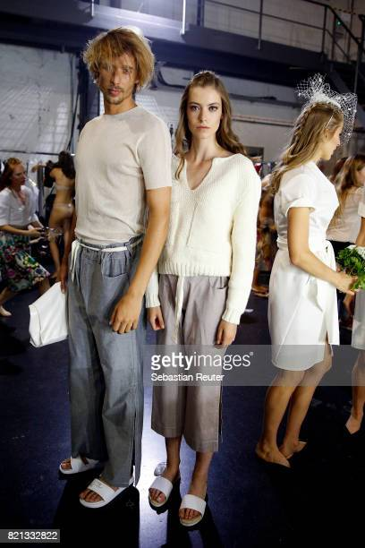 Models are seen backstage ahead of the Fashionyard show during Platform Fashion July 2017 at Areal Boehler on July 23 2017 in Duesseldorf Germany
