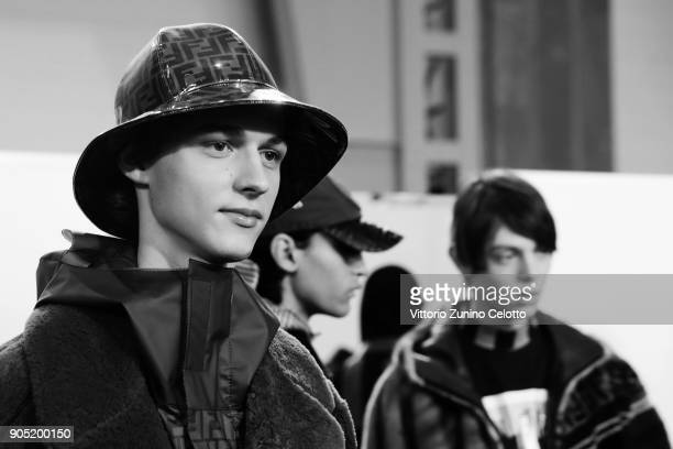 Models are seen backstage ahead of the Fendi show during Milan Men's Fashion Week Fall/Winter 2018/19 on January 15 2018 in Milan Italy