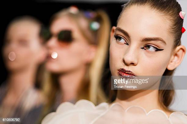 Models are seen backstage ahead of the Fendi show during Milan Fashion Week Spring/Summer 2017 on September 22 2016 in Milan Italy