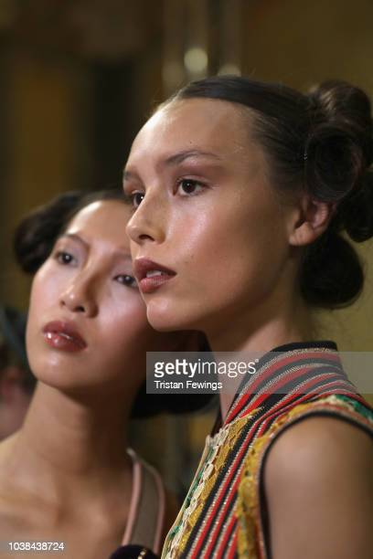 Models are seen backstage ahead of the Francesca Liberatore show during Milan Fashion Week Spring/Summer 2019 on September 23 2018 in Milan Italy