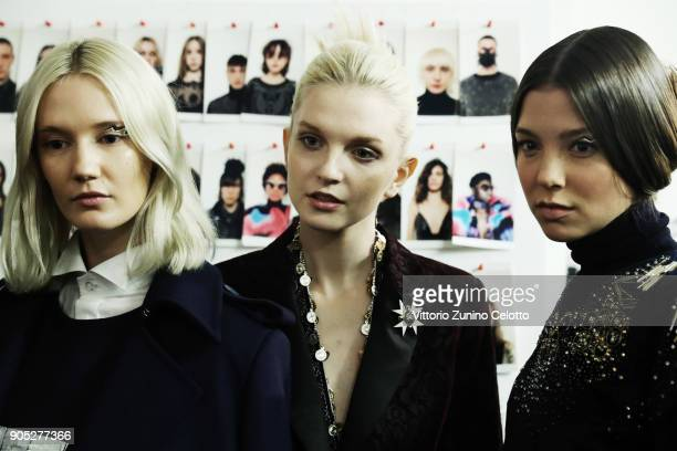 Models are seen backstage ahead of the Frankie Morello show during Milan Men's Fashion Week Fall/Winter 2018/19 on January 15 2018 in Milan Italy