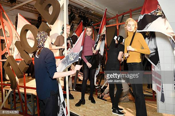 Models are seen backstage ahead of the I'M Isola Marras show during Milan Fashion Week Fall/Winter 2016/17 on February 25 2016 in Milan Italy