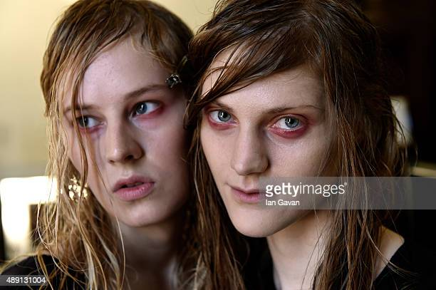 Models are seen backstage ahead of the James Kelly show at Fashion Scout during London Fashion Week Spring/Summer 2016 on September 19 2015 in London...