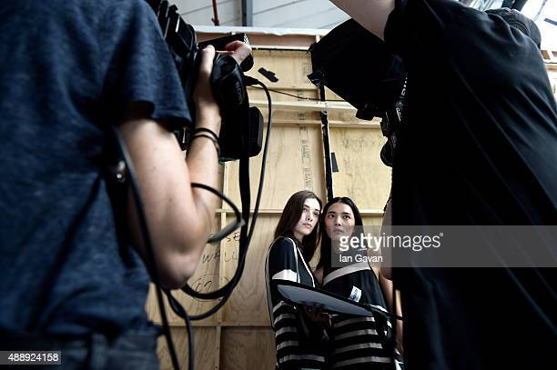 Models are seen backstage ahead of the JJS Lee show during London Fashion Week Spring/Summer 2016 on September 18 2015 in London England