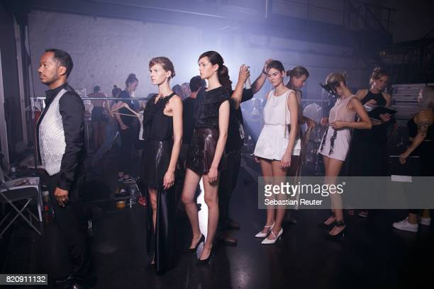 Models are seen backstage ahead of the 'Julia Koerner' show at the 3D Fashion Presented By Lexus/Voxelworld show during Platform Fashion July 2017 at...