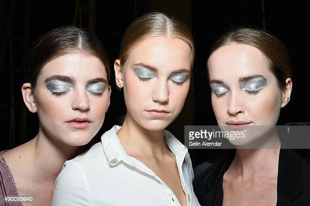 Models are seen backstage ahead of the Leitmotiv show during Milan Fashion Week Spring/Summer 2016 on September 26 2015 in Milan Italy