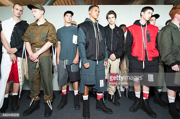 Models are seen backstage ahead of the Liam Hodges show during The London Collections Men SS17 at BFC Show Space on June 13, 2016 in London, England.