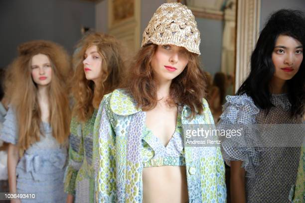 Models are seen backstage ahead of the Luisa Beccaria show during Milan Fashion Week Spring/Summer 2019 on September 20 2018 in Milan Italy