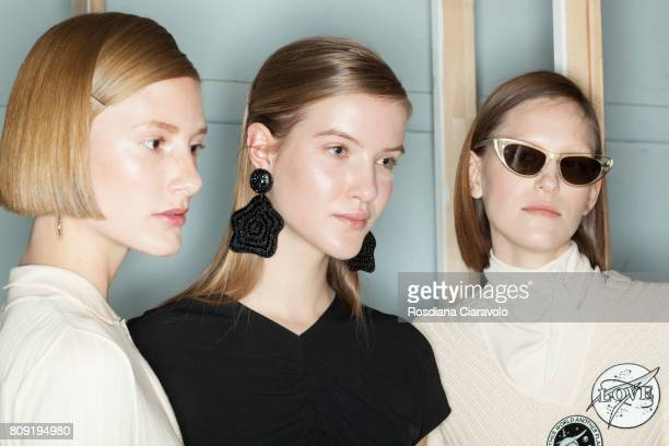 Models are seen backstage ahead of the Malaikaraiss during the Mercedes-Benz Fashion Week Berlin Spring/Summer 2018 at Kaufhaus Jandorf on July 5,...