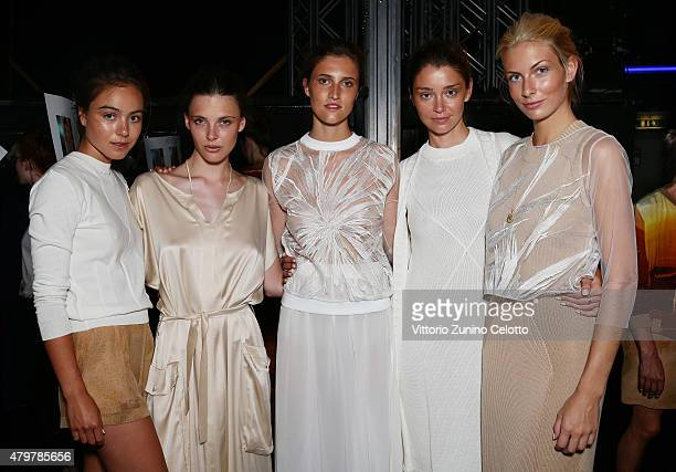 Models are seen backstage ahead of the Marcel Ostertag show during the MercedesBenz Fashion Week Berlin Spring/Summer 2016 at Admiralspalast on July...