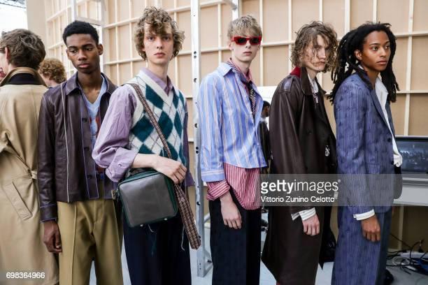 Models are seen backstage ahead of the Marni show during Milan Men's Fashion Week Spring/Summer 2018on June 17 2017 in Milan Italy