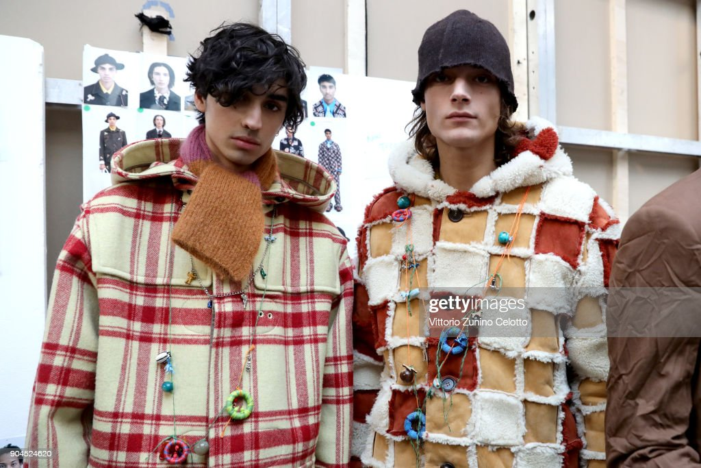 Models are seen backstage ahead of the Marni show during Milan Men's Fashion Week Fall/Winter 2018/19 on January 13, 2018 in Milan, Italy.