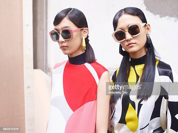 Models are seen backstage ahead of the Marni show during Milan Fashion Week Spring/Summer 2016 on September 27 2015 in Milan Italy