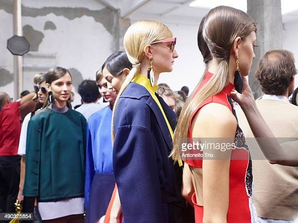 A models are seen backstage ahead of the Marni show during Milan Fashion Week Spring/Summer 2016 on September 27 2015 in Milan Italy