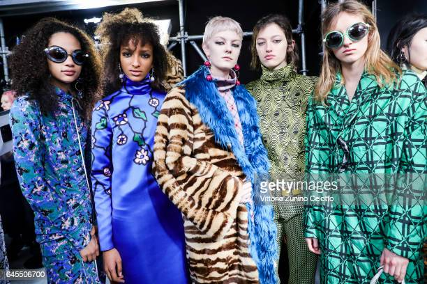 Models are seen backstage ahead of the Marni show during Milan Fashion Week Fall/Winter 2017/18 on February 26 2017 in Milan Italy