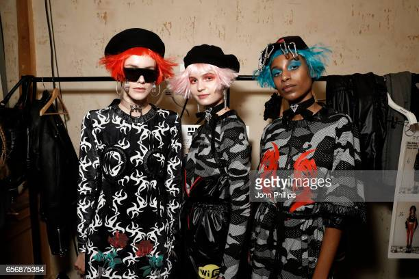 Models are seen backstage ahead of the MercedesBenz Presents DB Berdan show during MercedesBenz Istanbul Fashion Week March 2017 at Grand Pera on...